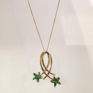 14K Yellow Gold Tsavorite Green Garnet Necklace